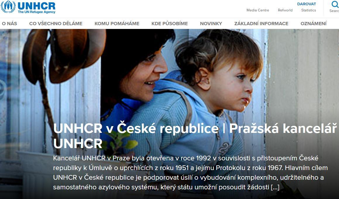 Stránky českého zastoupení  UNHCR