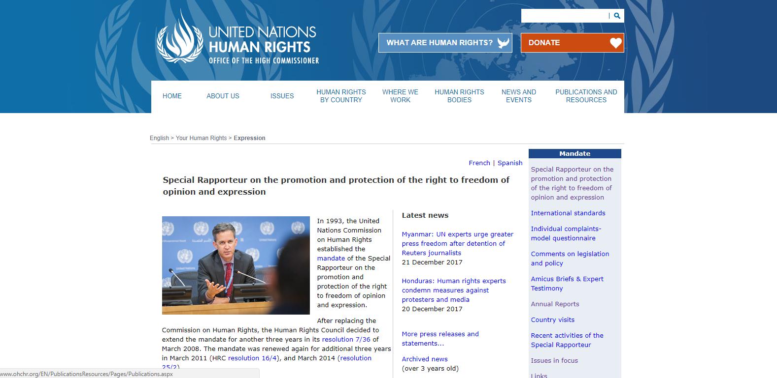 Zvláštní zpravodaj OSN pro podporu a ochranu práva na svobodu přesvědčení a projevu