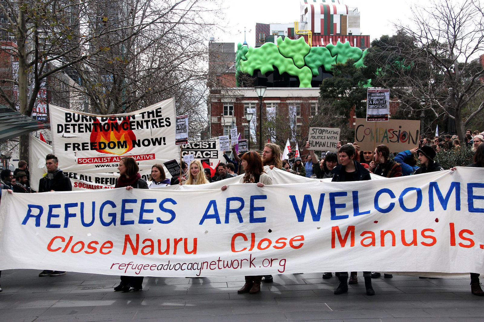 Refugees are welcome main banner - Refugee Action protest 27 July 2013 Melbourne. John Englart
