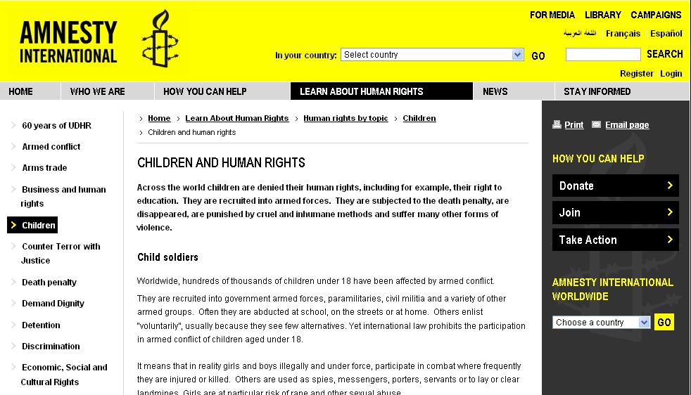 Amnesty international – děti a lidská práva