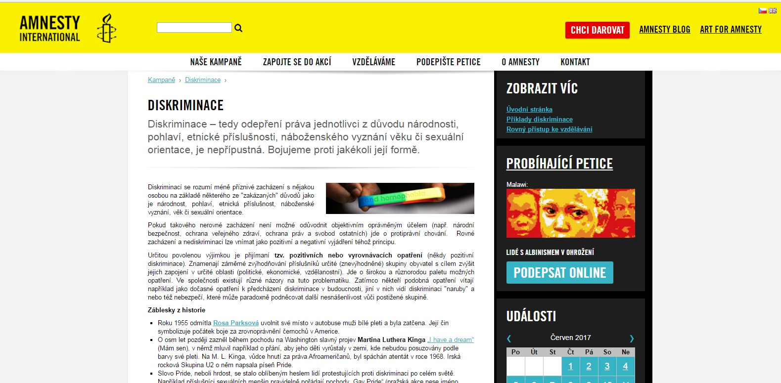 WEB AMNESTY INTERNATIONAL O DISKRIMINACI